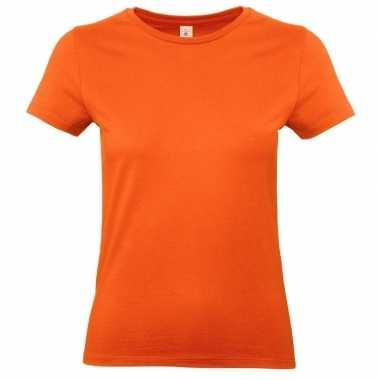 Goedkope basic dames t shirt oranje ronde hals