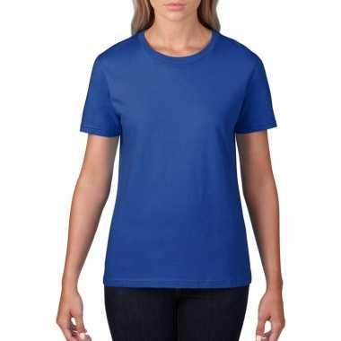 Goedkope basic ronde hals t shirt blauw dames