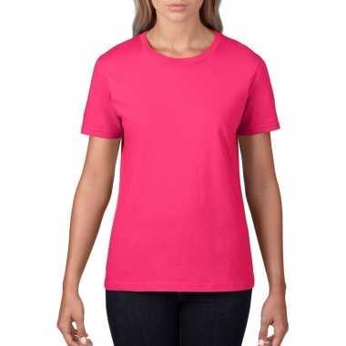 Goedkope basic ronde hals t shirt fuchsia roze dames