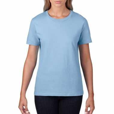 Goedkope basic ronde hals t shirt licht blauw dames
