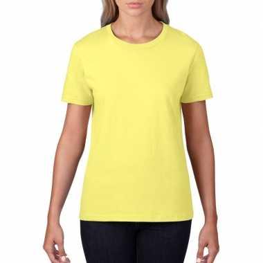 Goedkope basic ronde hals t shirt licht geel dames
