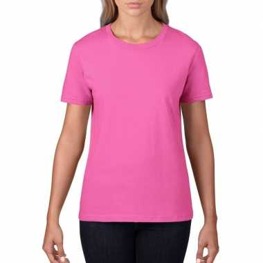 Goedkope basic ronde hals t shirt licht roze dames
