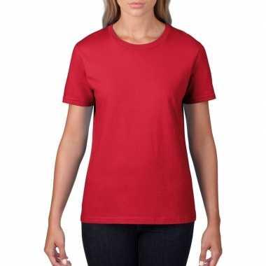 Goedkope basic ronde hals t shirt rood dames