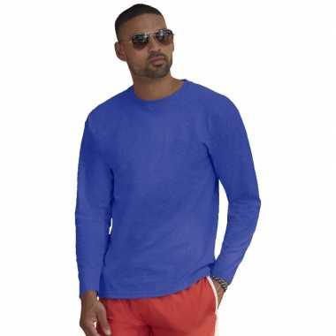 Goedkope basic shirt lange mouwen/longsleeve blauw heren