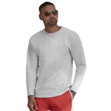 Goedkope basic shirt lange mouwen/longsleeve grijs heren