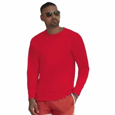 Goedkope basic shirt lange mouwen/longsleeve rood heren