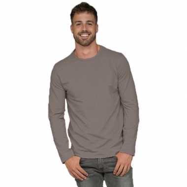 Goedkope basic stretch shirt lange mouwen/longsleeve grijs heren