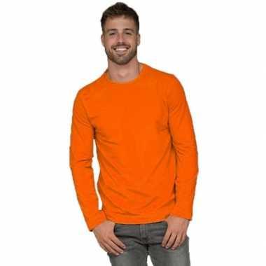 Goedkope basic stretch shirt lange mouwen/longsleeve oranje heren