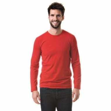 Goedkope basic stretch shirt lange mouwen/longsleeve rood heren