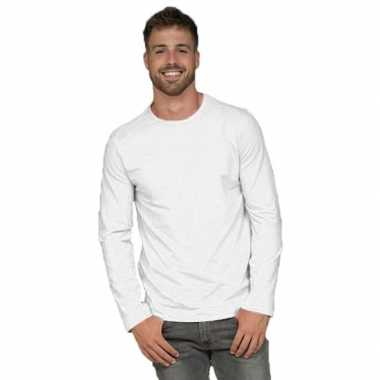 Goedkope basic stretch shirt lange mouwen/longsleeve wit heren
