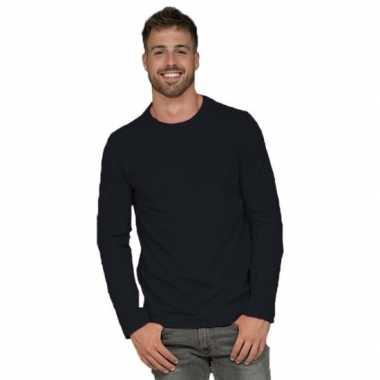 Goedkope basic stretch shirt lange mouwen/longsleeve zwart heren