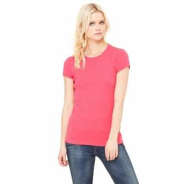 Goedkope basic t shirt fuchsia roze ronde hals dames