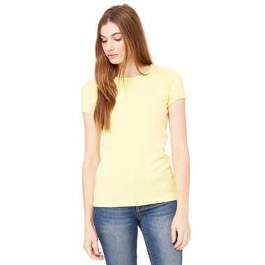 Goedkope basic t shirt geel ronde hals dames
