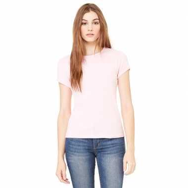 Goedkope basic t shirt licht roze ronde hals dames