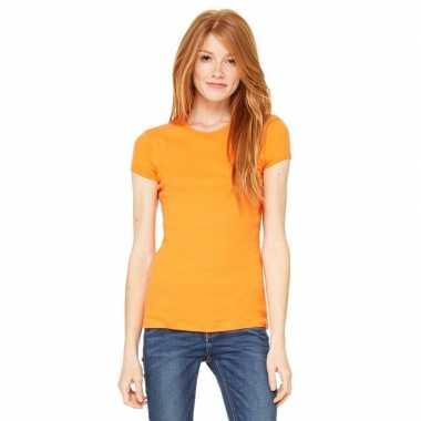 Goedkope basic t shirt oranje ronde hals dames