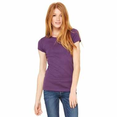 Goedkope basic t shirt paars ronde hals dames