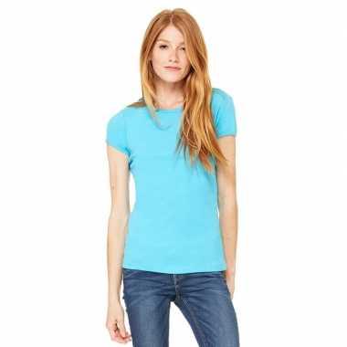 Goedkope basic t shirt turquoise ronde hals dames