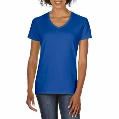 Goedkope basic v hals t shirt blauw dames