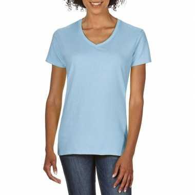 Goedkope basic v hals t shirt licht blauw dames