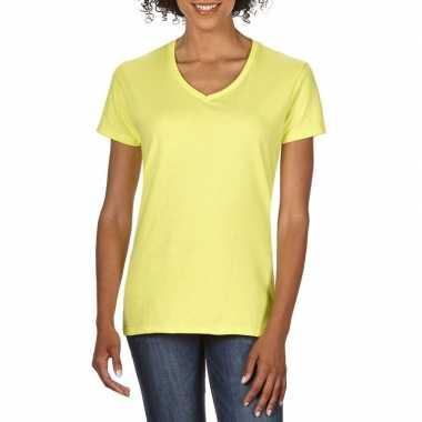 Goedkope basic v hals t shirt licht geel dames