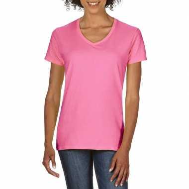 Goedkope basic v hals t shirt licht roze dames