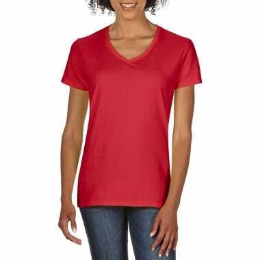 Goedkope basic v hals t shirt rood dames
