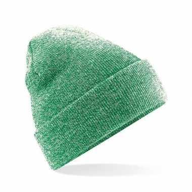 Goedkope basic winter muts groen gemeleerd