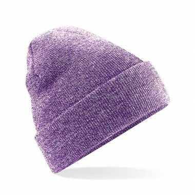 Goedkope basic winter muts paars gemeleerd