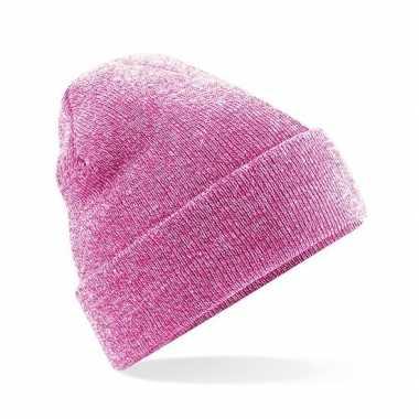 Goedkope basic winter muts roze gemeleerd
