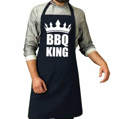 Goedkope bbq king barbeque schort / keukenschort navy heren