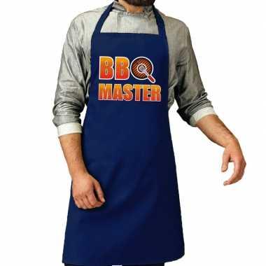 Goedkope bbq master barbeque schort /keukenschort kobalt blauw heren