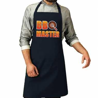 Goedkope bbq master barbeque schort / keukenschort navy heren