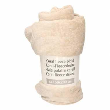 Goedkope beige gemeleerde fleece deken