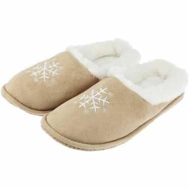 Goedkope beige instap sloffen/pantoffels sneeuwvlok dames