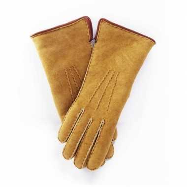 Goedkope beige lammy handschoenen suede volwassenen