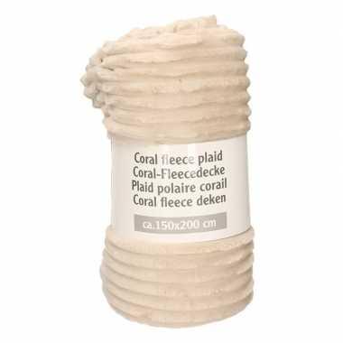 Goedkope beige strepen relief fleece deken