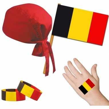 Goedkope belgie/belgisch thema verkleed set volwassenen