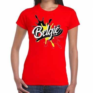 Goedkope belgie t shirt spetter rood dames