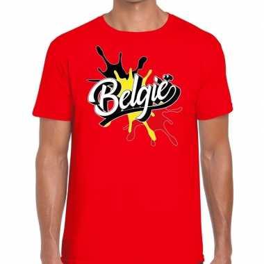 Goedkope belgie t shirt spetter rood heren