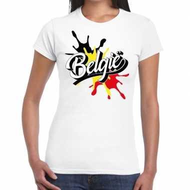 Goedkope belgie t shirt spetter wit dames