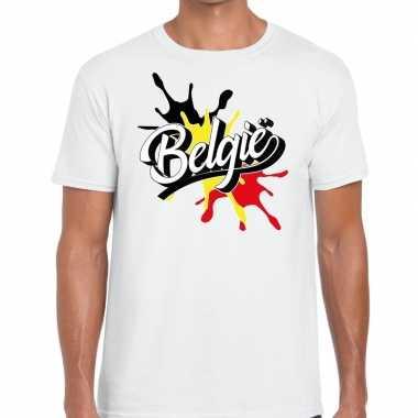 Goedkope belgie t shirt spetter wit heren