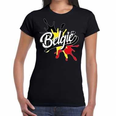 Goedkope belgie t shirt spetter zwart dames
