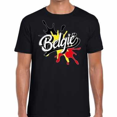 Goedkope belgie t shirt spetter zwart heren