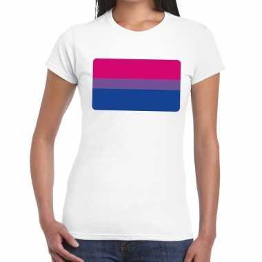 Goedkope bi vlag gaypride t shirt wit dames
