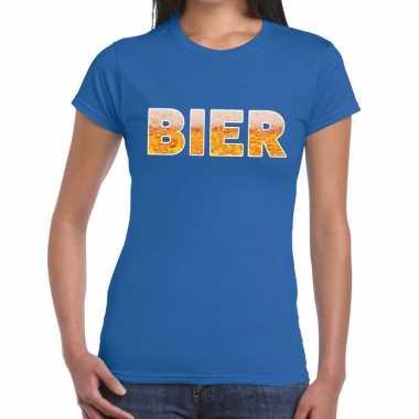 Goedkope bier tekst t shirt blauw dames