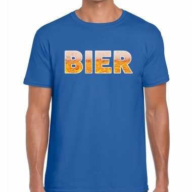 Goedkope bier tekst t shirt blauw heren