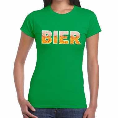 Goedkope bier tekst t shirt groen dames