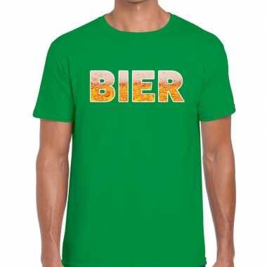 Goedkope bier tekst t shirt groen heren