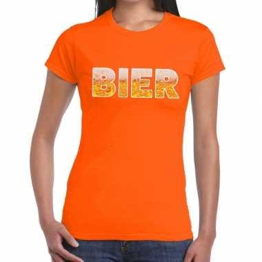 Goedkope bier tekst t shirt oranje dames