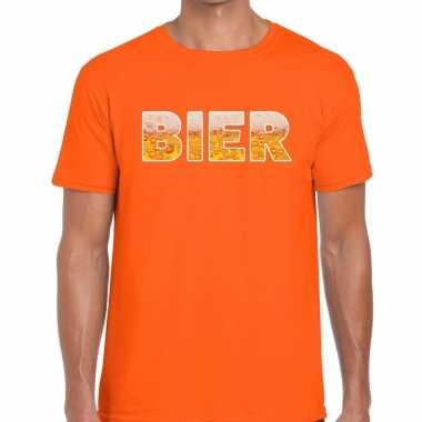 Goedkope bier tekst t shirt oranje heren